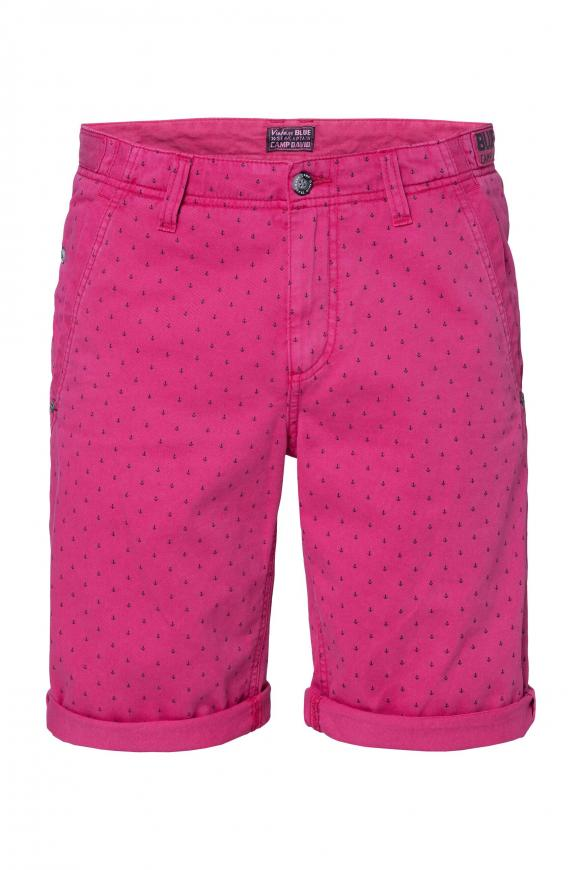 Chino Shorts mit All Over Print red purple