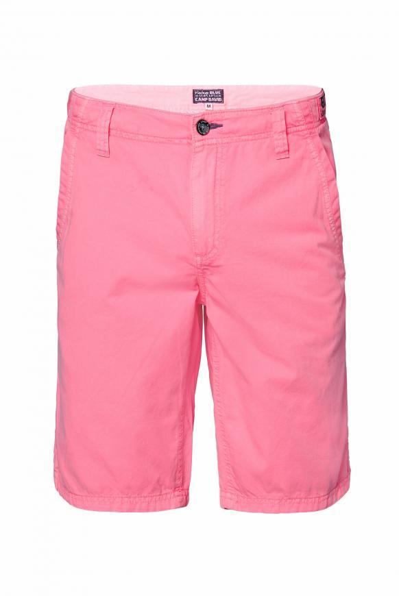 Chino Shorts Stone Washed mit tonigen Tapes neon pink