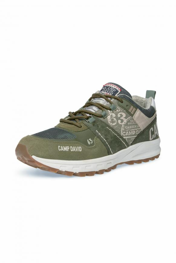 City Hiking Sneaker mit Logo-Applikationen light olive
