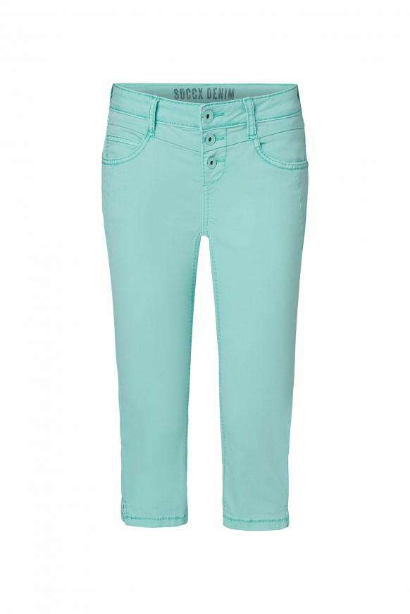 Coloured Capri Jeans LY:IA mit Knopfleiste cool aqua