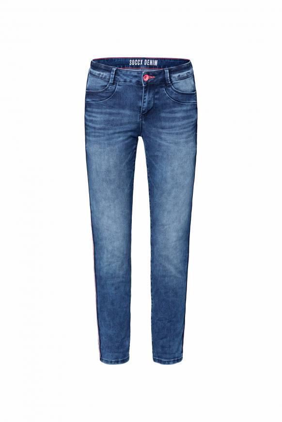 Comfort Fit Jeans CH:AR mit Tapes an den Seiten deep blue used