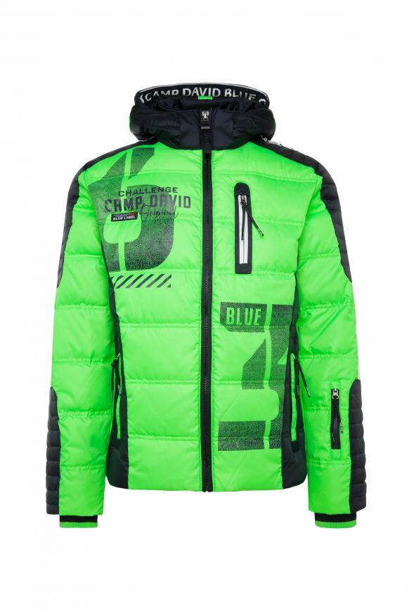 Daunenjacke mit Kapuze im Racing-Stil neon green