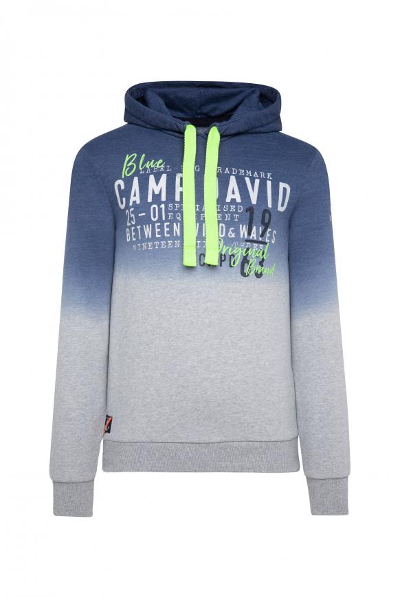 Dip Dye Hoodie mit Label Prints blue navy