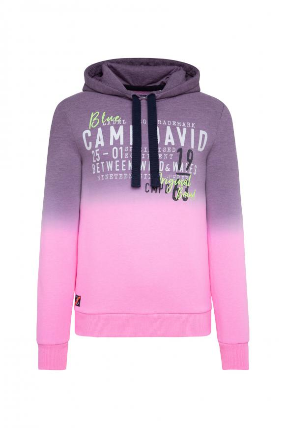Dip Dye Hoodie mit Label Prints neon pink