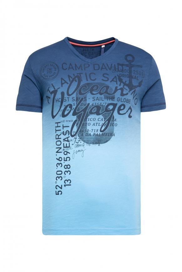 Dip Dye T-Shirt mit V-Neck und Print summer aqua
