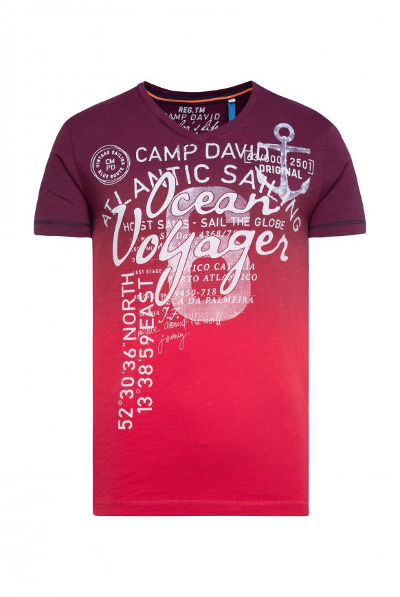 Dip Dye T-Shirt mit V-Neck und Print speed red