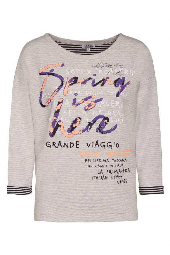 Doubleface Sweatshirt mit Frontprint light grey