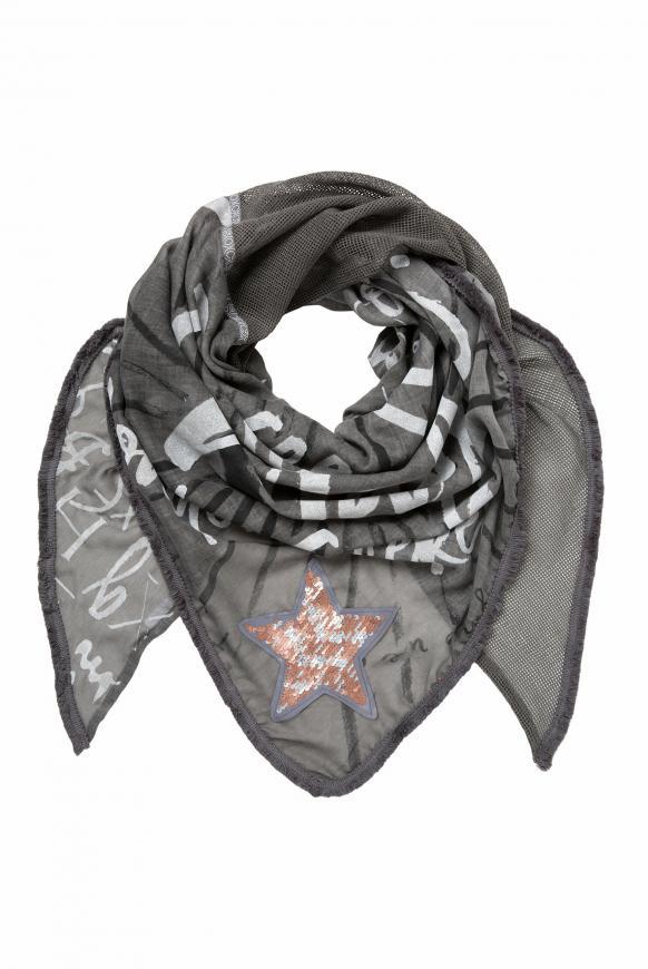 Dreieckstuch im Materialmix mit Artworks grey phantom