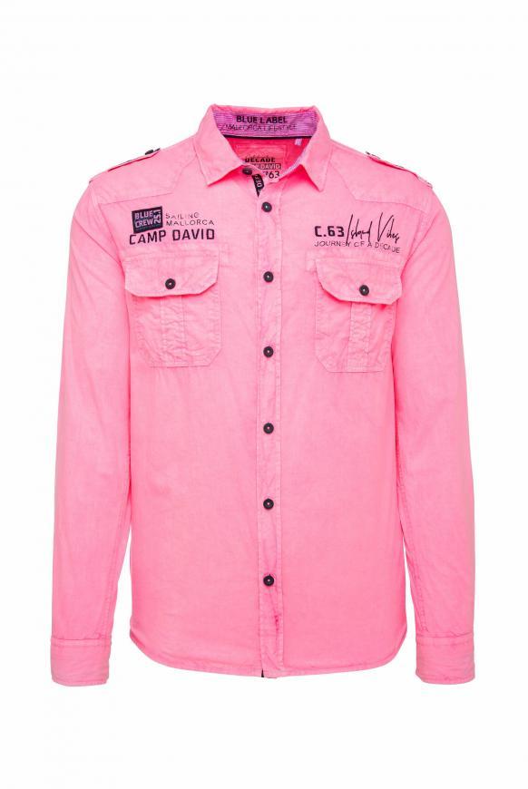 Fil à Fil Hemd mit Artworks und Tapes neon pink