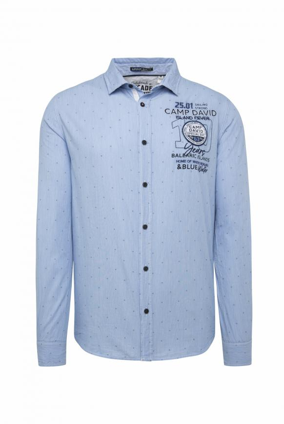 Fil à Fil Jacquard Hemd mit Logo Design mid blue