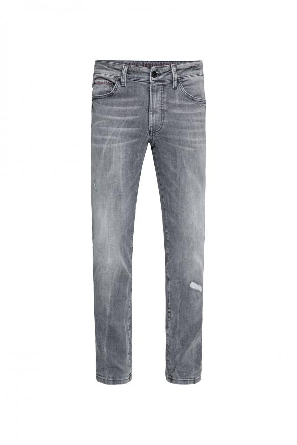 Five Pocket Jeans NI:LS mit Bleaching-Effekten grey used destroy