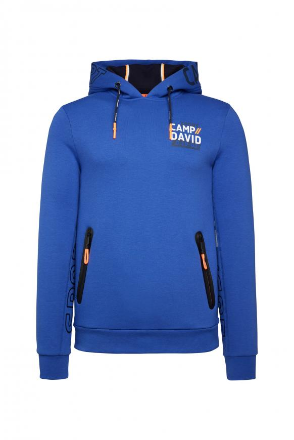 Fleece Hoodie mit Logo und Waterproof Zippern action blue