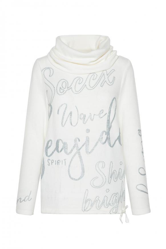 Fleece-Pullover mit hohem Kragen und Glitter Prints ivory