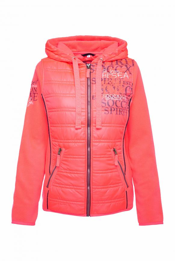 Fleecejacke im Materialmix mit Kapuze flashy red