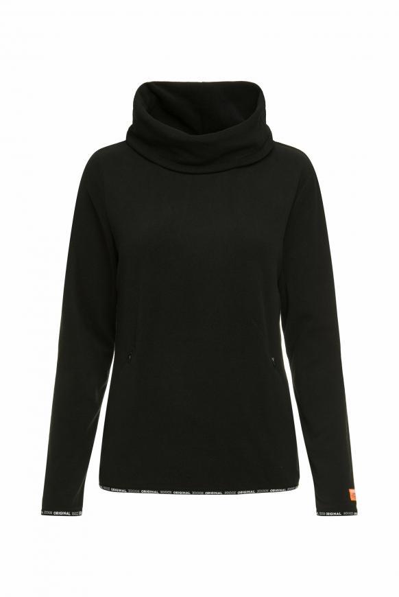 Fleecesweater mit Rollkragen und Pailletten-Logo black