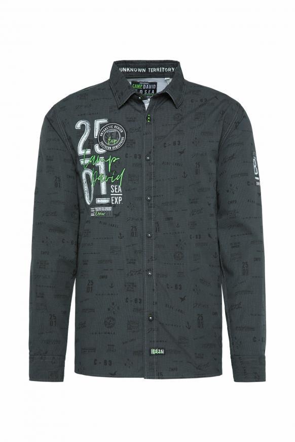 Freizeithemd mit All Over Print black
