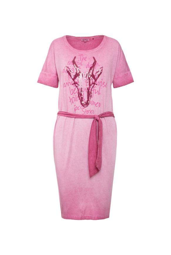Gefärbtes T-Shirt-Kleid mit Artwork tribal pink