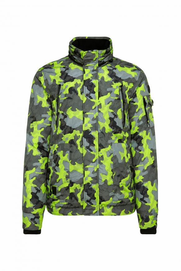 Gemusterte Jacke mit reflektierenden Punkten signal green