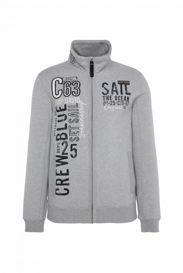 Gepeachte Sweatjacke mit Artwork grey melange