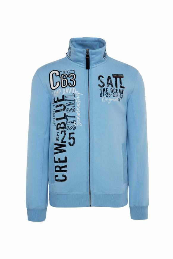 Gepeachte Sweatjacke mit Artwork light blue