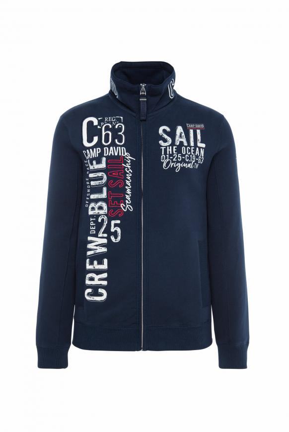 Gepeachte Sweatjacke mit Artwork space navy