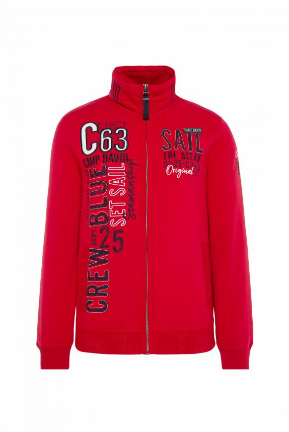 Gepeachte Sweatjacke mit Artwork royal red