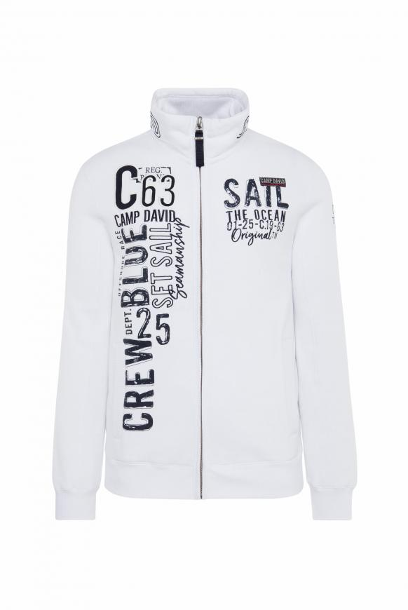 Gepeachte Sweatjacke mit Artwork opticwhite
