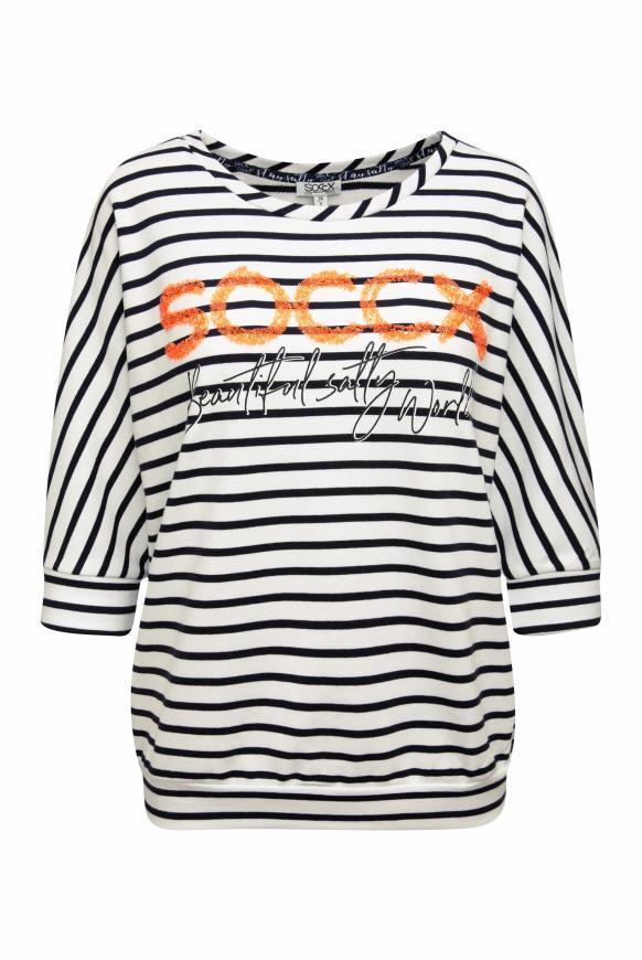 Gestreiftes Sweatshirt mit Pailletten-Logo opticwhite