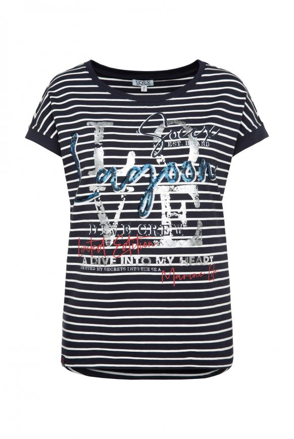 Gestreiftes T-Shirt mit Wording Print deep sea