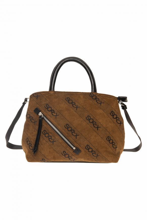 Handtasche aus Lederimitat mit Logo-Stickereien brown
