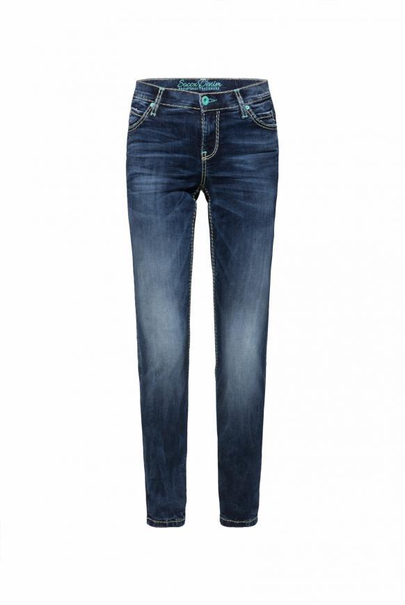 HE:DI Slim Fit Jeans mit breiten Nähten dark stone used