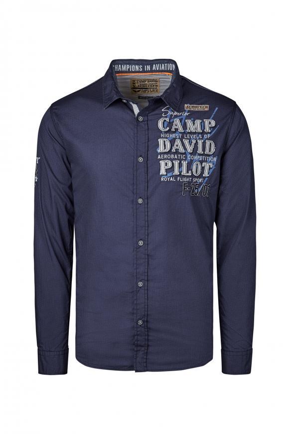 Hemd mit filigranem Musterprint blue navy