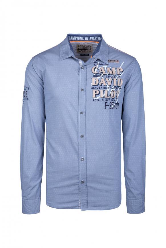 Hemd mit filigranem Musterprint sky blue