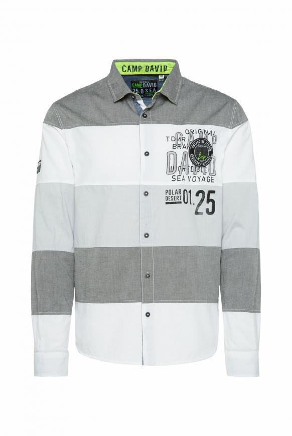 Hemd mit Streifen-Design und Artwork anthra