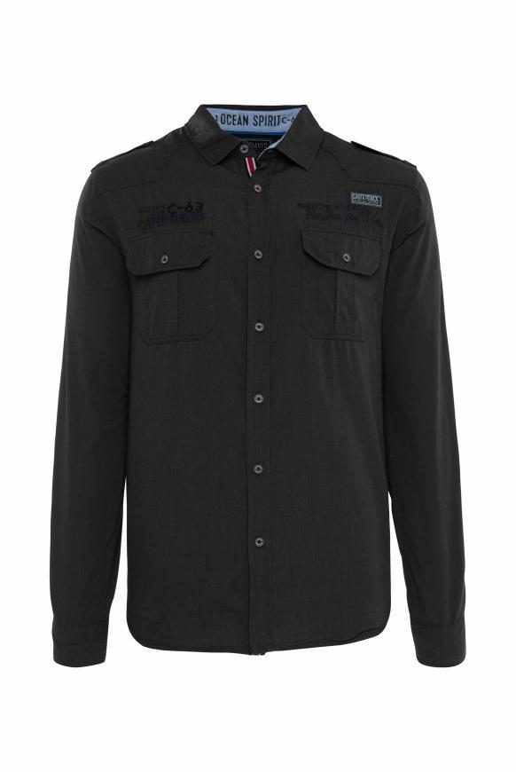 Hemd mit Taschen, Artworks und Schulterriegeln black