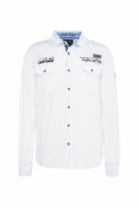 Hemd mit Taschen, Artworks und Schulterriegeln opticwhite