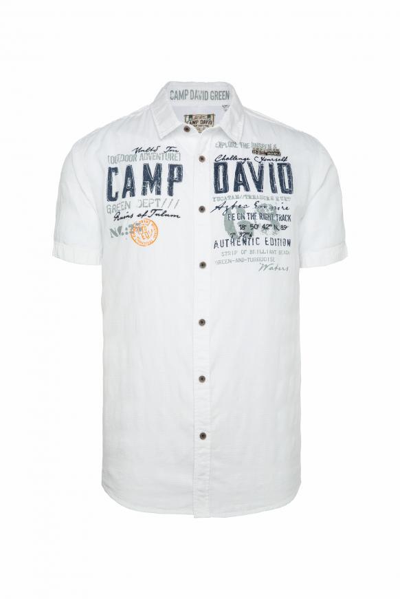 Hemd mit toniger Karo-Struktur und Artwork offwhite