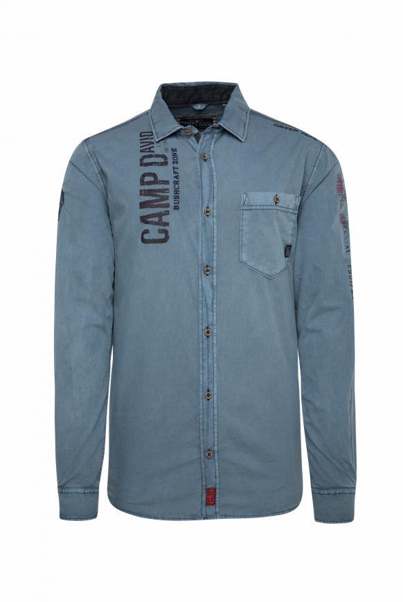 Hemd mit Used-Waschung und Rücken-Print blue grey