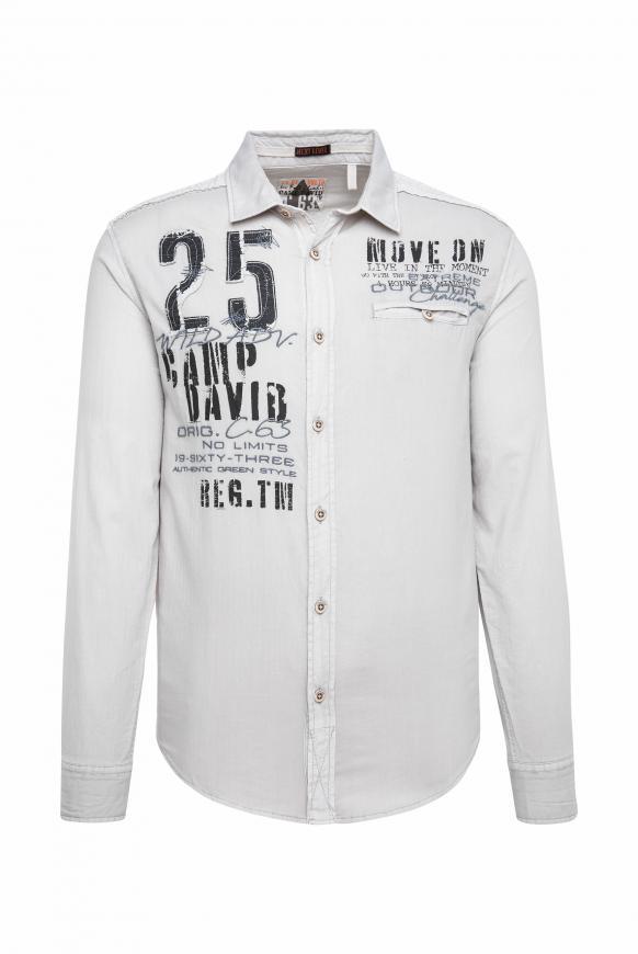 Hemd mit Webstreifen und Label-Applikationen silvery