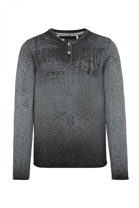 Henley-Pullover mit Artwork ebony