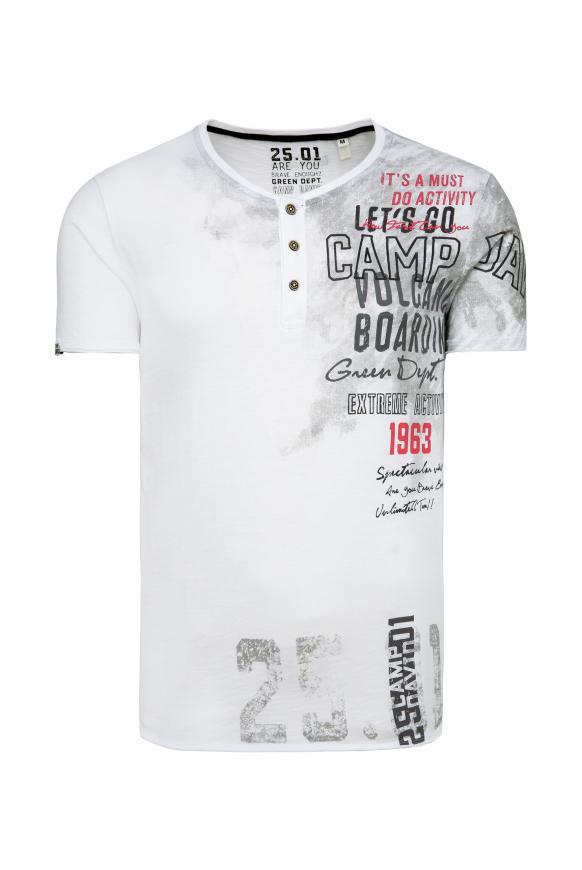 Henley-Shirt im Vintage Look mit Artwork offwhite