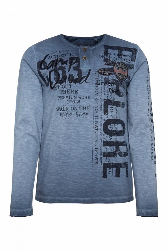 Henley-Shirt mit Artworks und Used-Färbung blue grey