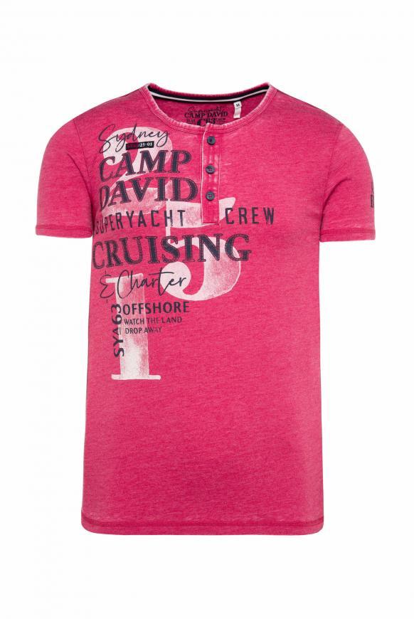Henley-Shirt mit Ausbrennern, Prints und Patches yacht red
