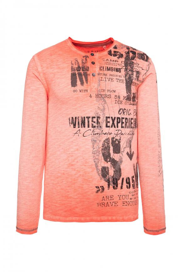 Henley-Shirt mit großem Label Print winter orange