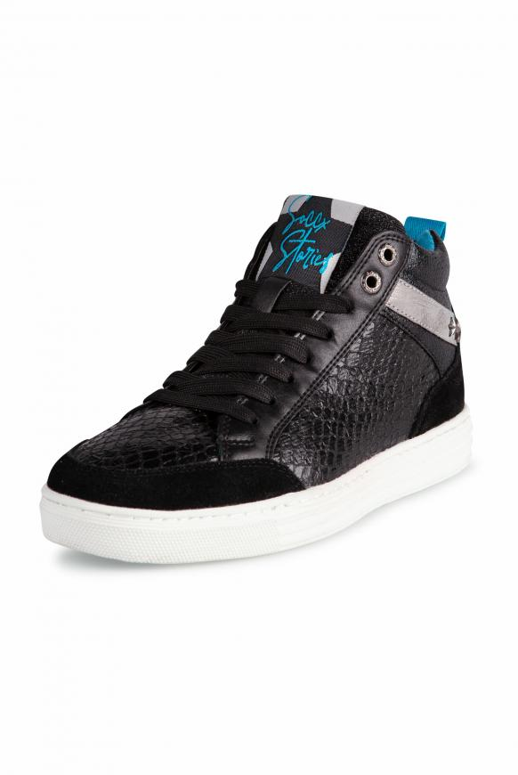 High Cut Sneaker mit Glitzer-Details black