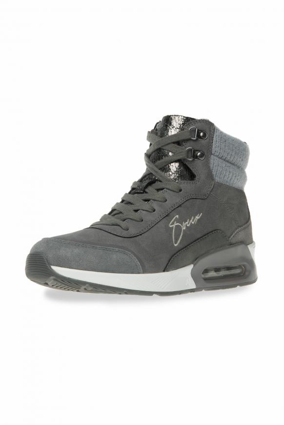 High Top Sneaker im Materialmix mit Logostick dark ash