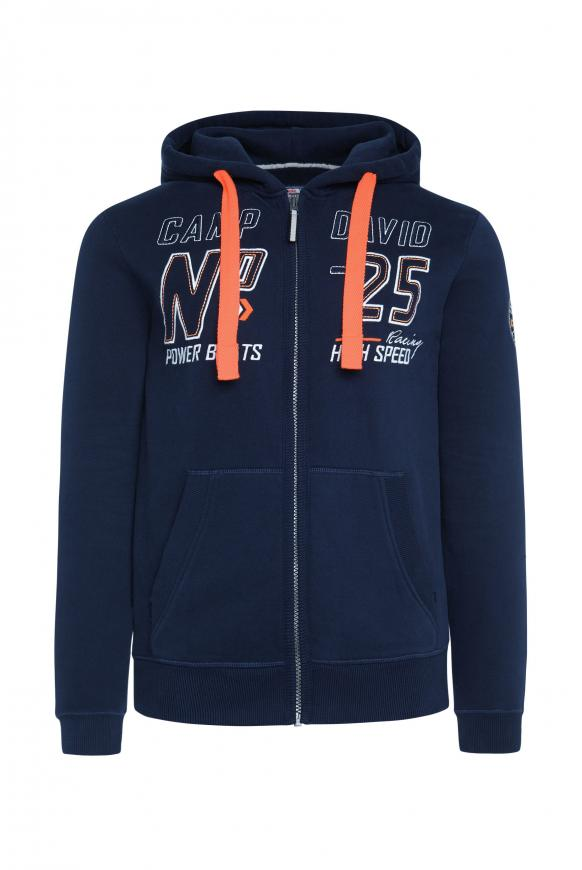Hoodie Jacket mit Label-Applikationen blue navy