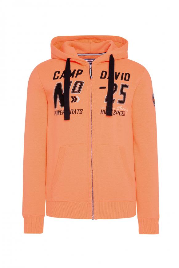 Hoodie Jacket mit Label-Applikationen neon orange