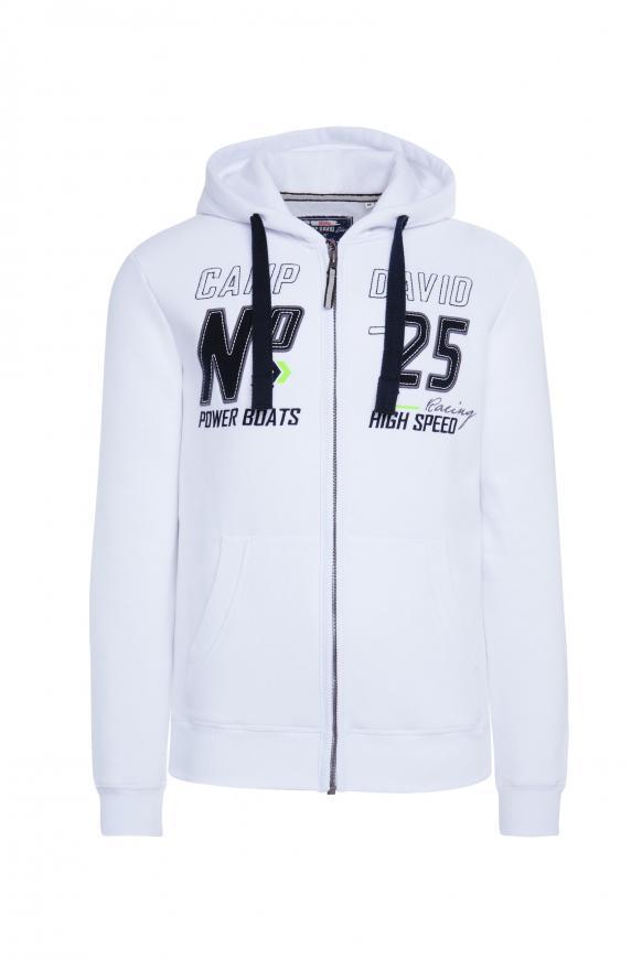 Hoodie Jacket mit Label-Applikationen opticwhite