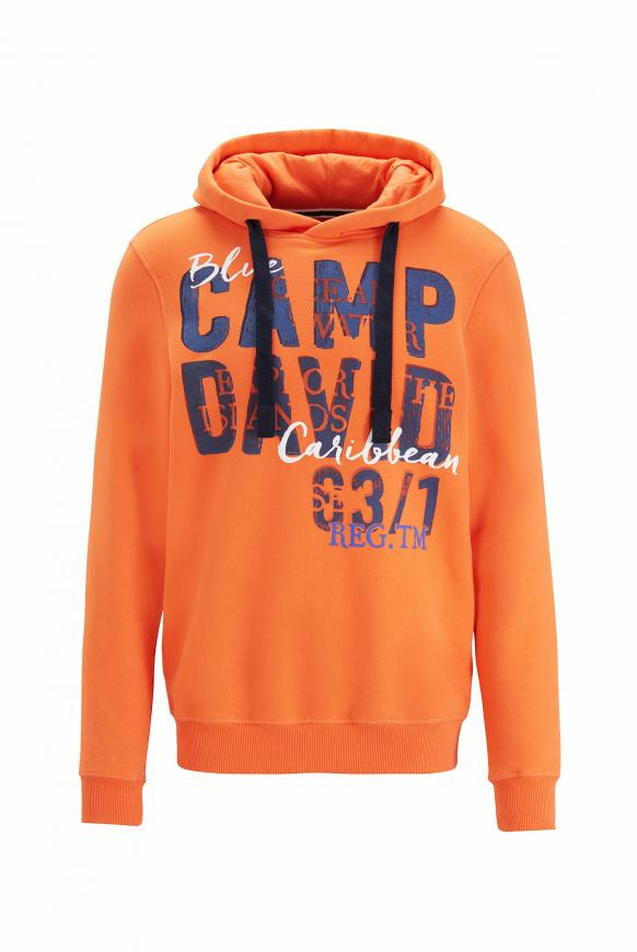Hoodie mit großem Logo-Fotoprint mission orange